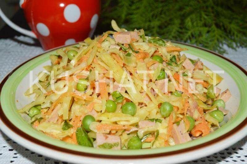 Салаты с капустой и колбасой рецепты с
