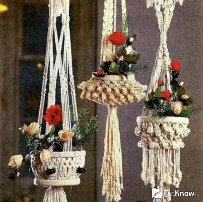 Макраме кашпо для цветов