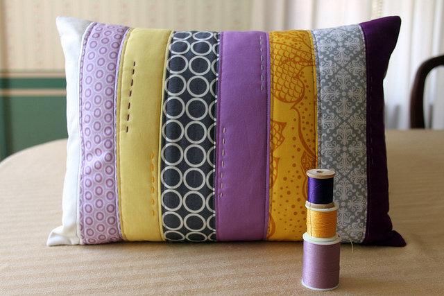 Сшить наволочку на подушку из кусков ткани 22