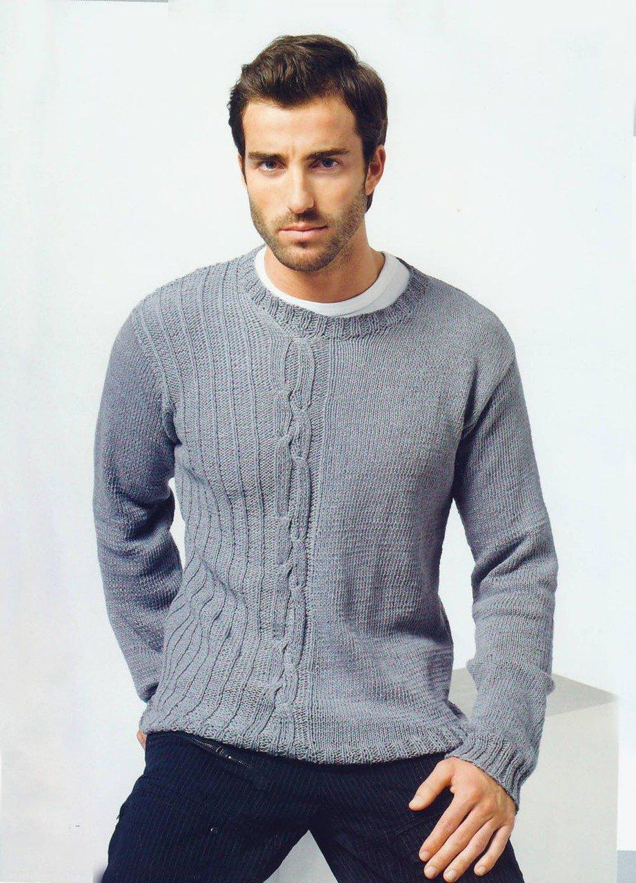 Бежевый мужской пуловер-реглан с фантазийным узором 15