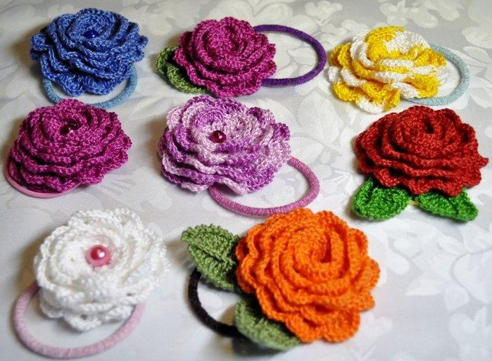 Вязание цветка на волосы крючком
