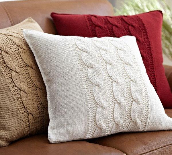 Чехлы на подушки спицами своими руками