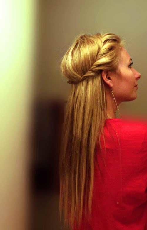 Легкая прическа на длинных волосах из жгутов