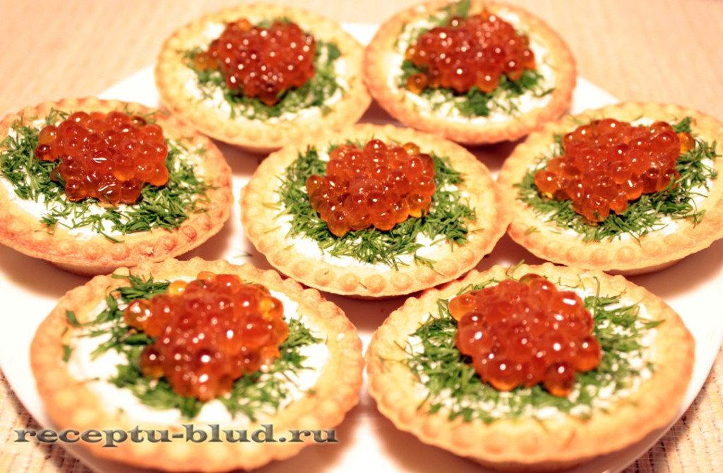 Салаты тарталетки с икрой рецепт с