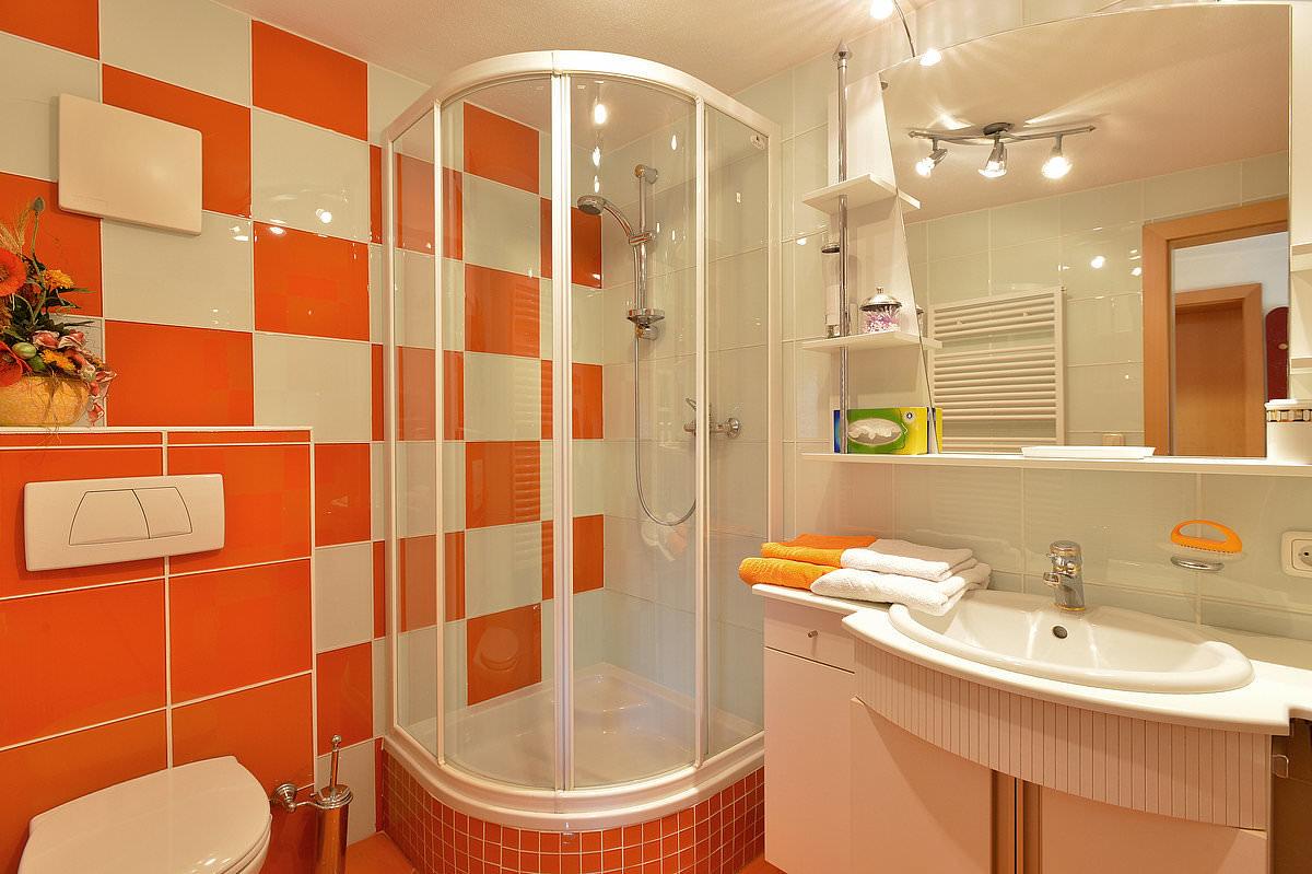 Дизайн ванных комнат в оранжевом цвете фото
