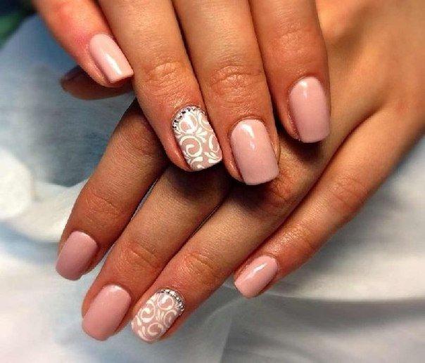 Дизайны свадебных ногтей гель-лаком