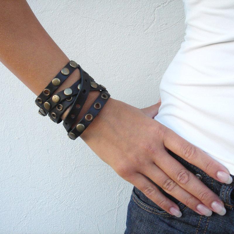 Браслеты кожаные женские своими руками 30