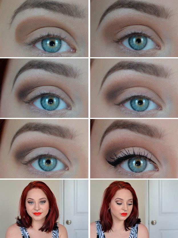 Красивый макияж для голубых глаз пошагово с