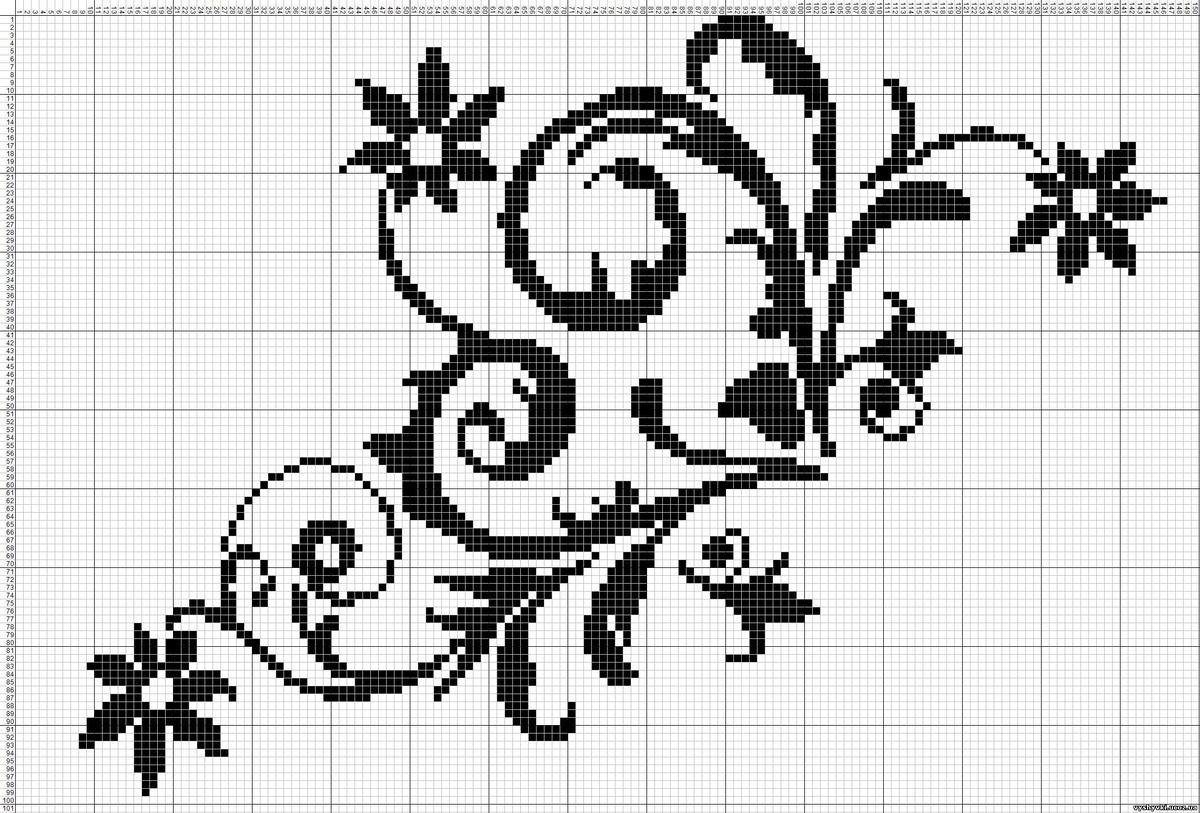 Схемы для вышивки монохром цветы 50