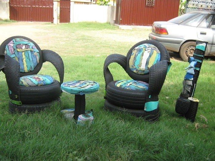 Кресла из шин фото