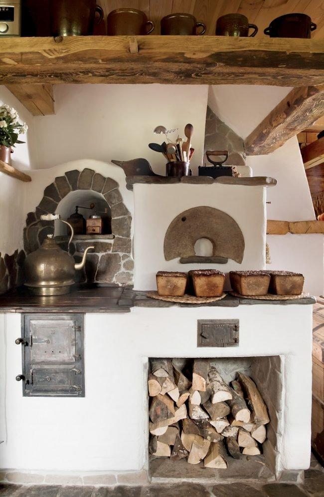 Интерьер бабушкина домика внутри с печкой фото