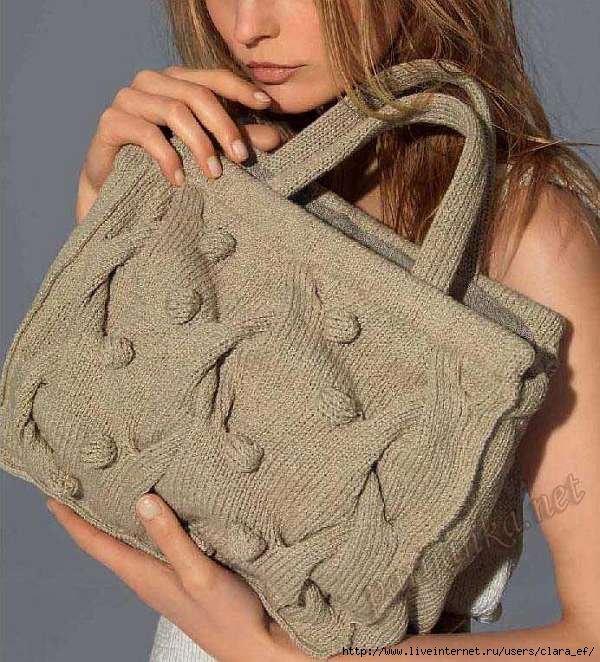 Вязание спицами женские сумки 36