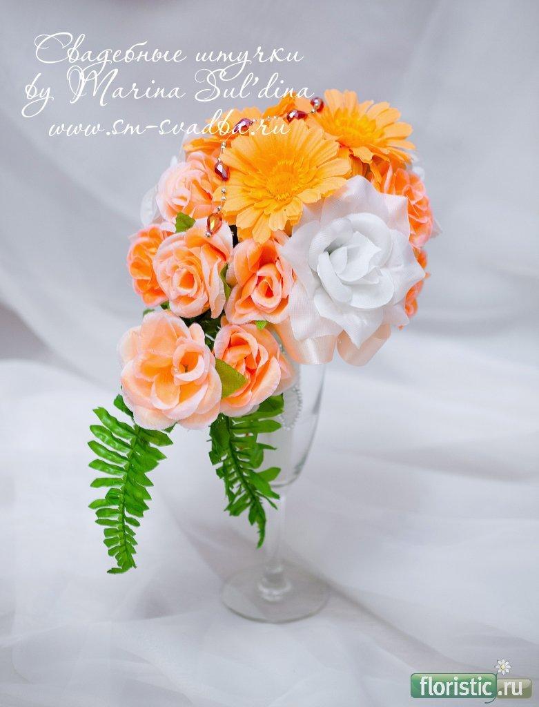Букет из роз и гербер своими руками