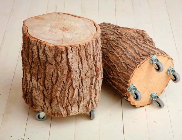 Поделки из спилов деревьев для интерьера 96
