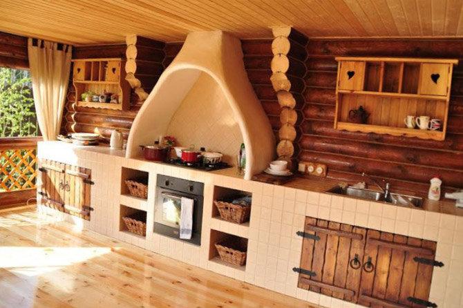Дизайн кухни на даче в деревянном доме своими руками 42