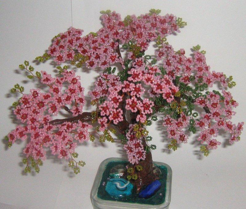 Цветущая сакура из бисера мастер класс с пошаговым