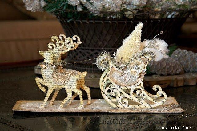 Новогодние сани с оленями своими руками