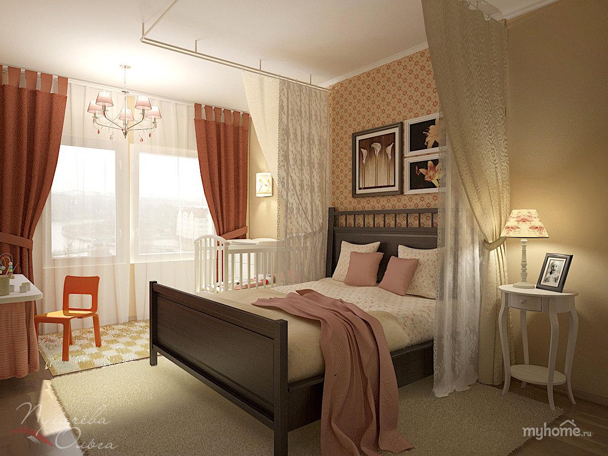 Дизайн спальни с детской кроваткой 12 кв метров