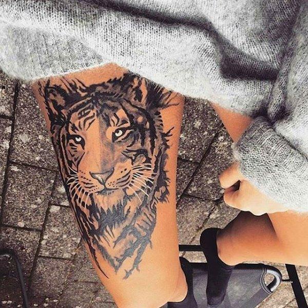 У меня тату тигр на бедре