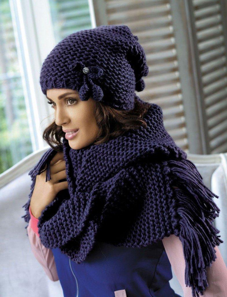 Вязаные шапочки и шарфы своими руками 39
