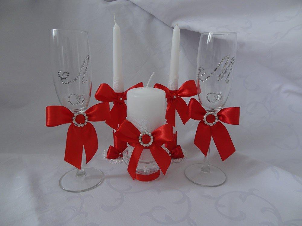 Бокалы на свадьбу в красно-белом цвете своими руками 50