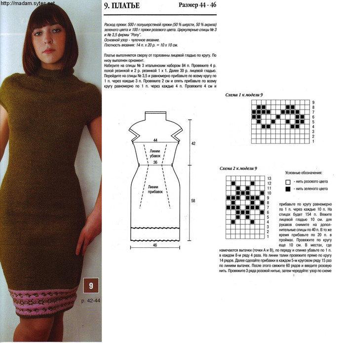 Платье спицами для женщин со схемами сверху