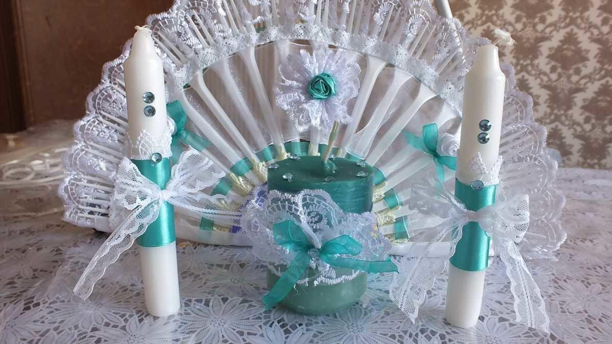 Свечи на свадьбу своими руками бирюзовые 85