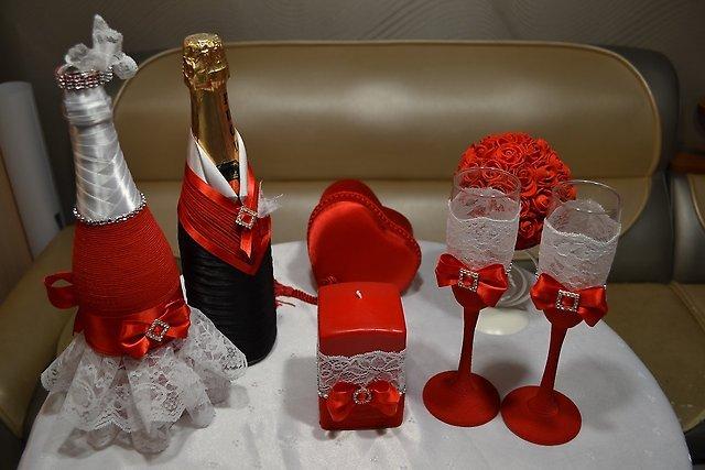 Бокалы на свадьбу пошаговое красно белые