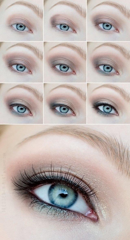 Дневной макияж для голубых глаз с пошагово