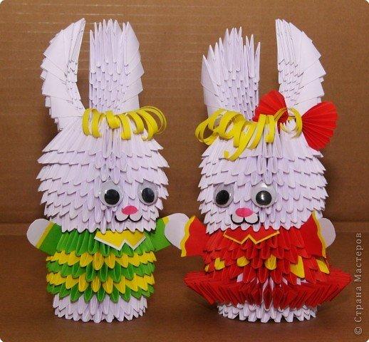 Пошаговое модульное оригами зайчик