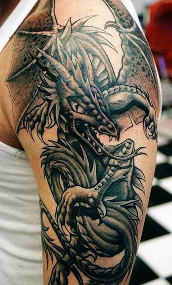 Фото драконов для тату на плечо для мужчин