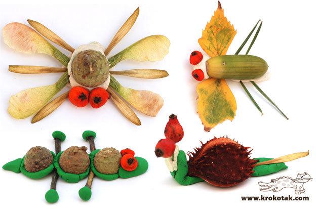 Поделки осенние из природного материала для детского сада своими руками фото