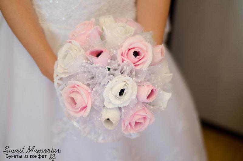Свадебный букет из гофрированной бумаги