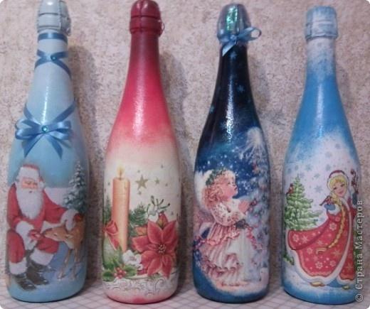 Декупаж бутылок своими руками на новый год