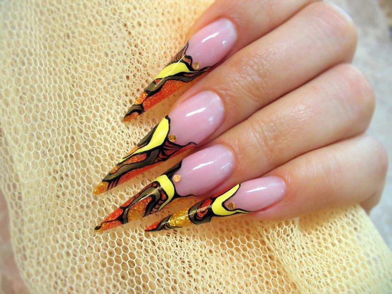 Фото дизайн ногтей нарощенных длинных ногтей