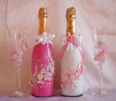 Украсить шампанское на свадьбу своими руками из атласных лент 102