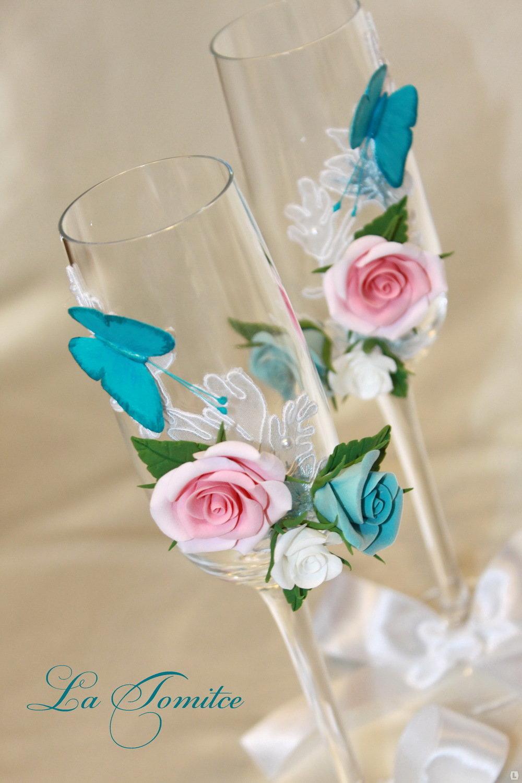 Розы для бокалов из полимерной глины своими руками