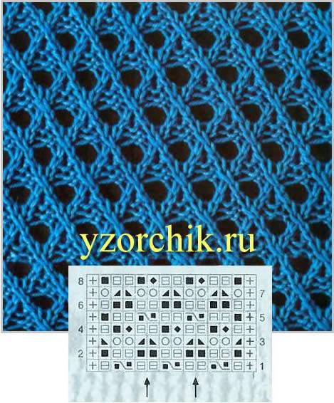Схемы для вязания сетчатых узоров 892
