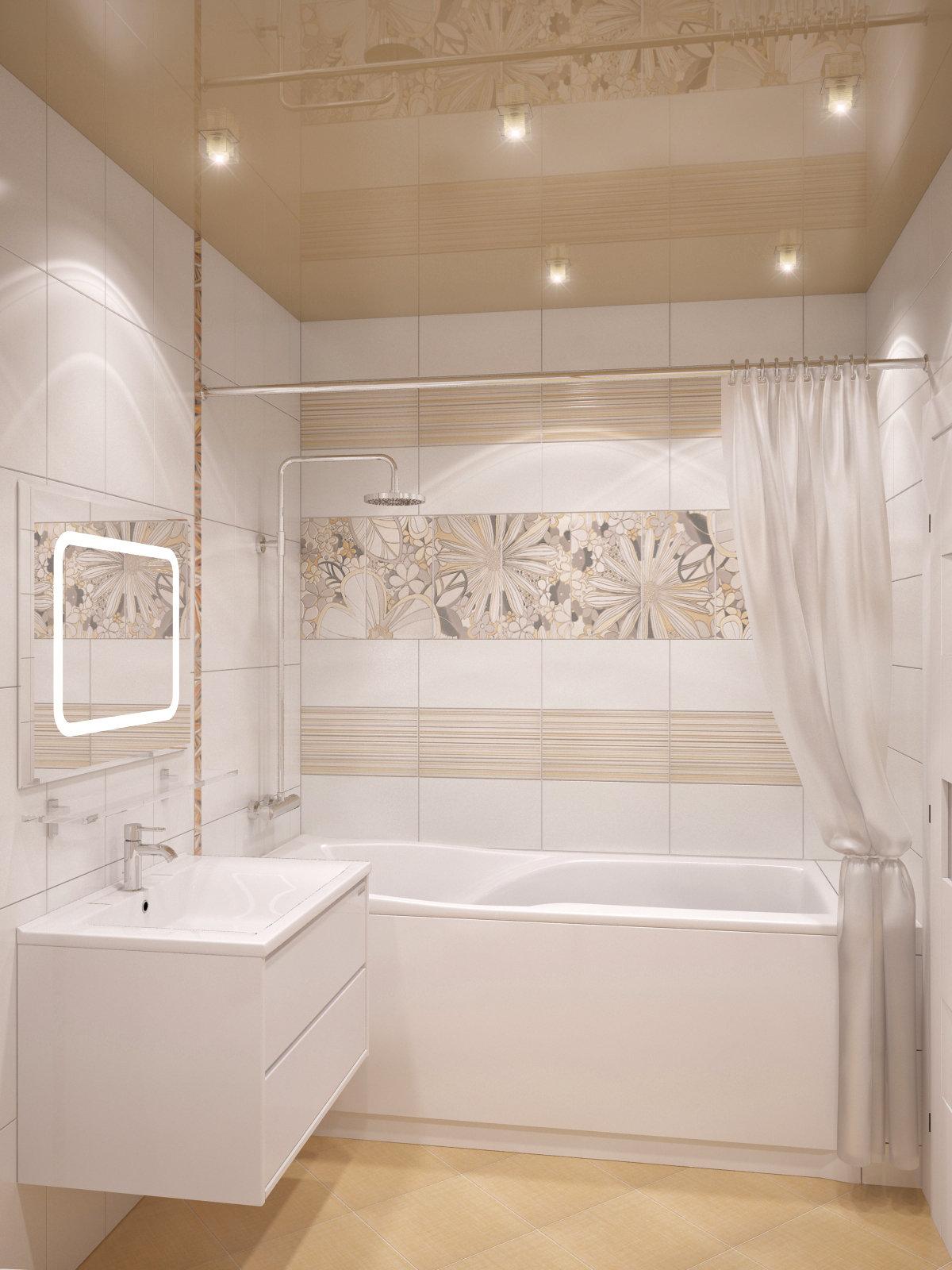 Интерьер ванной в светлом
