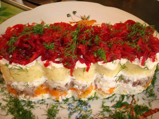 Салат под шубой с яблоками рецепт с пошагово