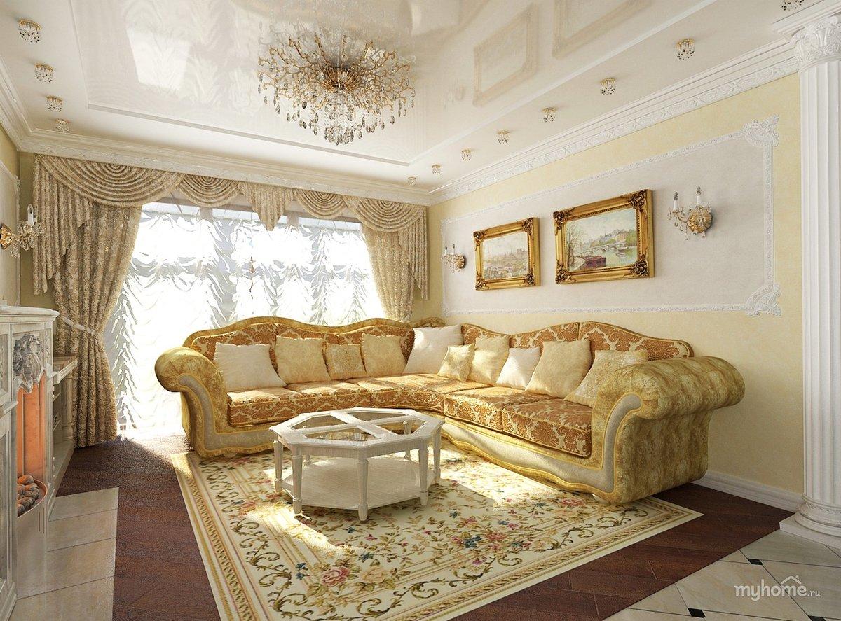 Оттенки золота в дизайне гостиной-столовой 931