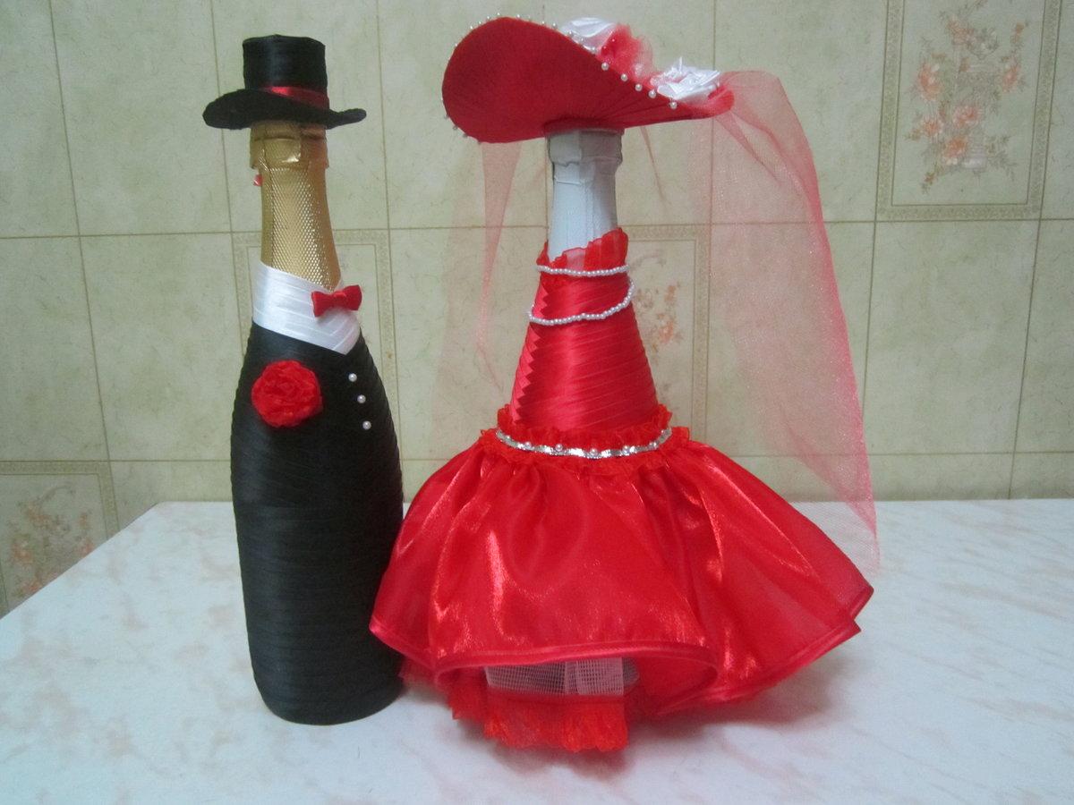 Украшение бутылки шляпка