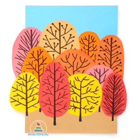 Осенняя аппликация из цветной бумаги для