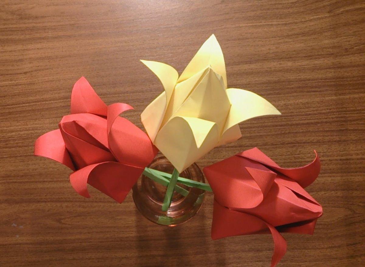 Как сделать тюльпан оригами маме к 8 марта? Схема 66