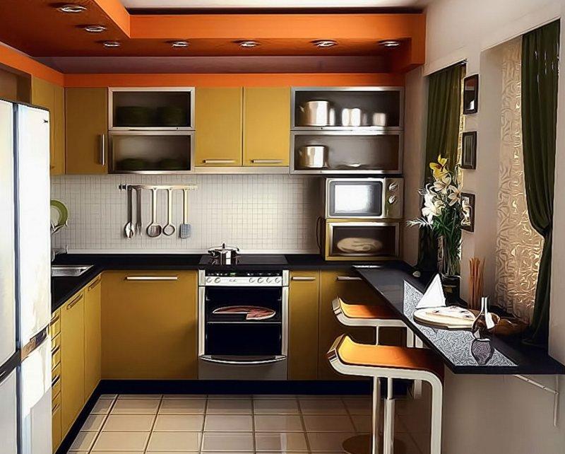 Интерьер в кухне маленького размера