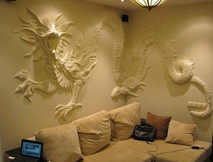 Гипсовые рисунки на стенах своими руками 87