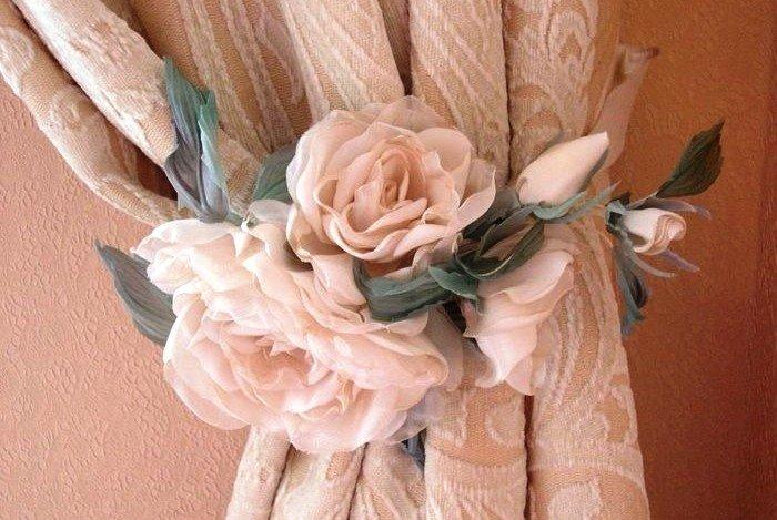 Как сделать розы своими руками для штор 67