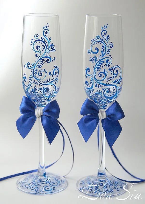 Свадебных бокалов своими руками синий 33
