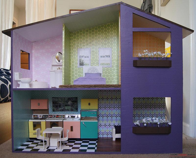 Детский домик для кукол из коробки