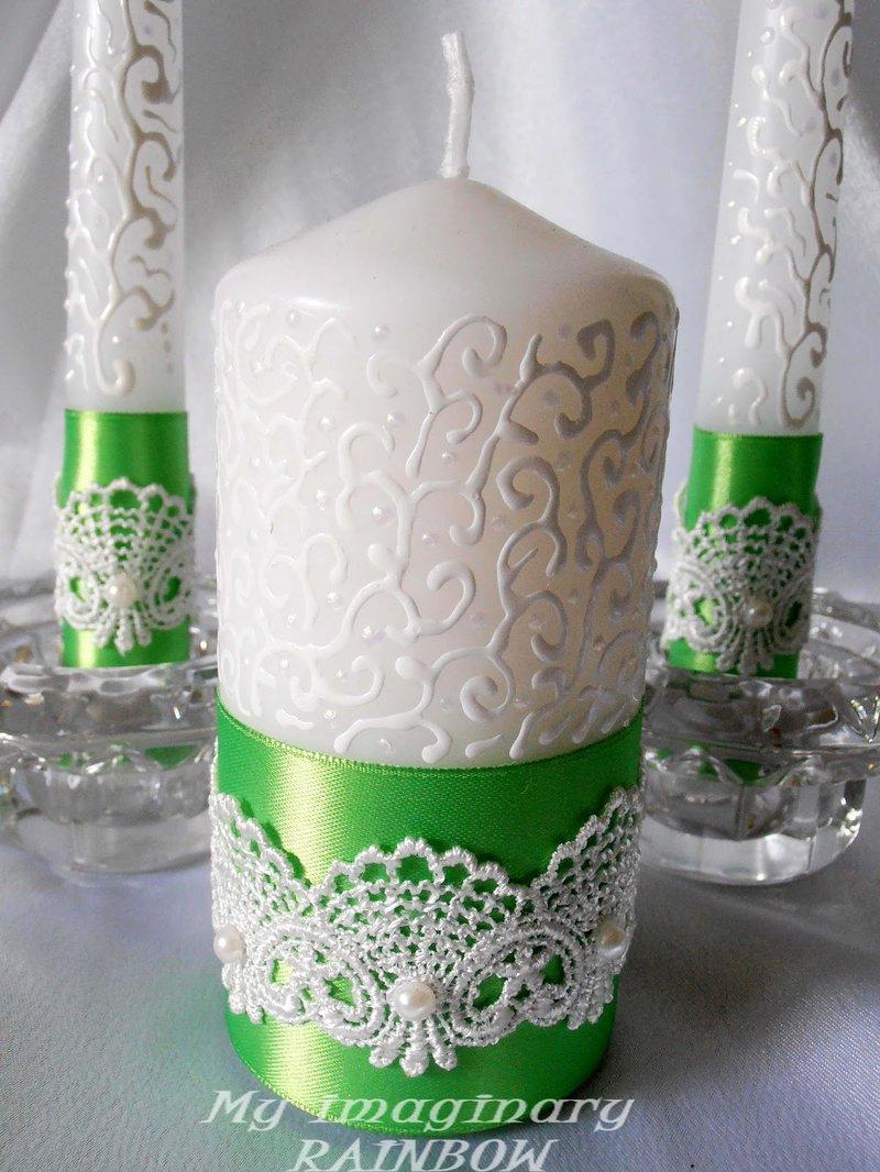 Как украсить свадебную свечу своими руками фото